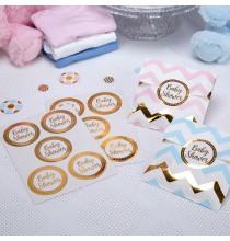 25 Stickers Baby Shower en Ronds Dorés