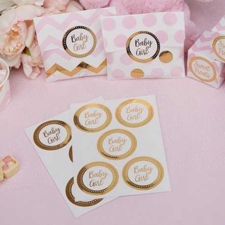 25 Stickers Baby Girl en Ronds Dorés