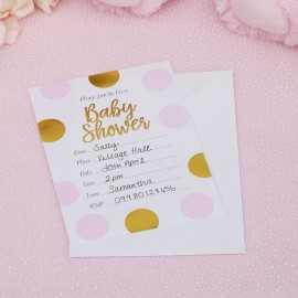 10 Invitations Baby Shower Princesse en rose et doré