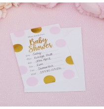 10 Invitations Baby Shower Princesse en rose et doré