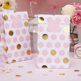5 Sacs Rigides pour cadeaux invité Premium Pois Rose et Doré
