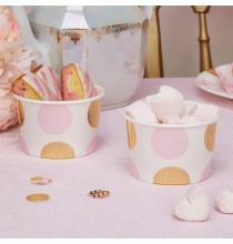 Pots de présentation sweet table Premium Pois Rose et Doré