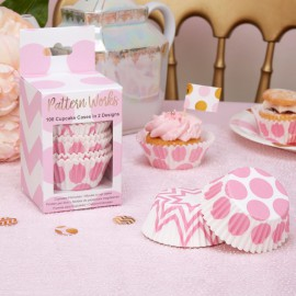 100 Moules à Cup cakes en papier Rose Pois et Chevron