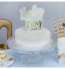 Baby Boy Décoration Pique pour gateau en Bleu et Doré