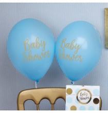 8 Ballons Latex Baby Shower Princes Bleu et Doré