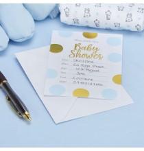 10 Invitations Baby Shower Petit Prince en bleu clair et doré