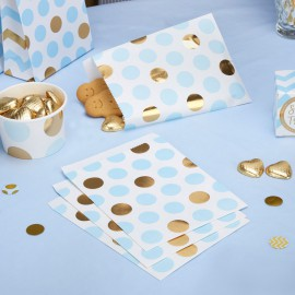 25 Sachets cadeaux rétro Premium Pois Bleu et Doré