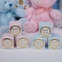 10 Mini Boîtes Sachets cadeaux Premium Chevron Bleu et Doré