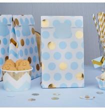 5 Sacs Rigides pour cadeaux invité Premium Pois Bleu et Doré