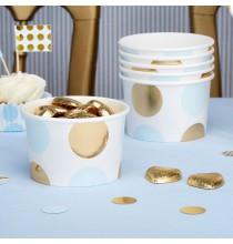 Pots de présentation sweet table Premium Pois Bleu et Doré