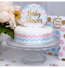 Baby Shower Décoration Pique pour gateau en Bleu et Rose Pastel