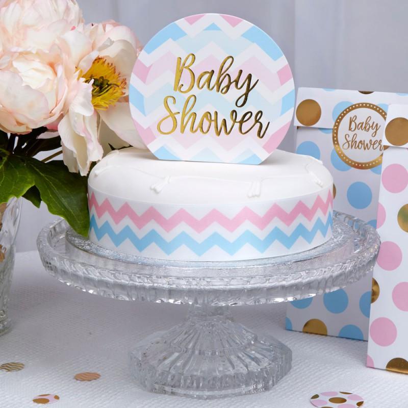 Pique d coration pour gateau bleu rose chevron baby shower for Deco bleu et rose