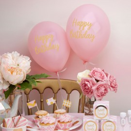 8 Ballons Latex Happy Birthday Princesse Rose et Doré