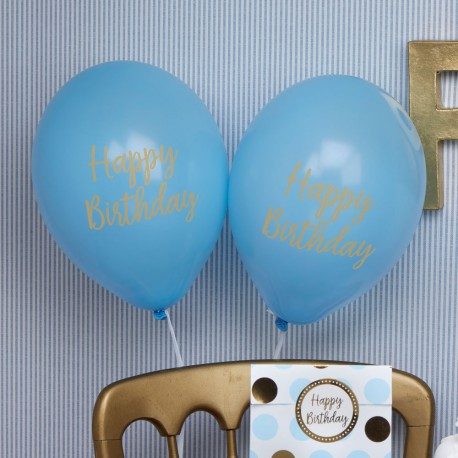 8 Ballons Latex Happy Birthday Petit Prince Bleu et Doré