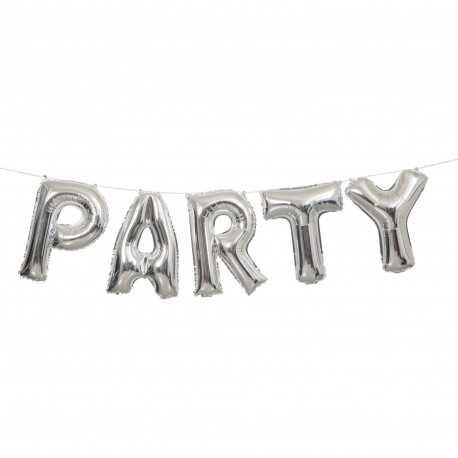 Ballons Lettres PARTY en Banderole Argent Brillant