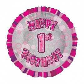 Ballon 1 an Rose Holographique - Premier anniversaire fille