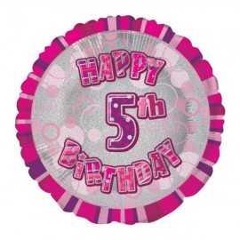 Ballon 5 ans Rose Holographique - Cinquième anniversaire fille