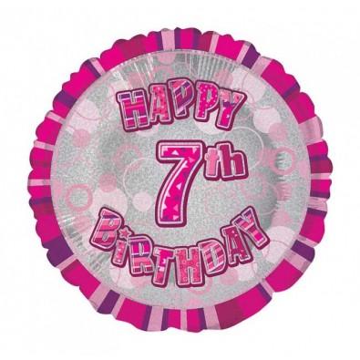 ballon chiffre sept 7 décoration rose gris anniversaire fille