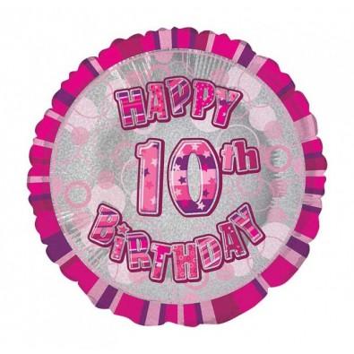 Ballon 10 ans Rose Holographique - Dixième anniversaire fille