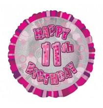 Ballon 11 ans Rose Holographique - Onzième anniversaire fille