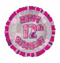 Ballon 12 ans Rose Holographique - Douzième anniversaire fille