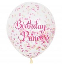 6 Ballons Latex Confettis Anniversaire Princesses Rose et Doré