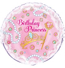 Ballon Alu Anniversaire Princesses Rose et Doré