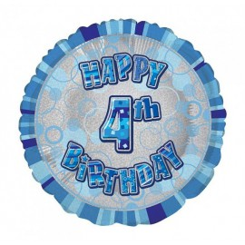 Ballon 4 ans Bleu Holographique - Quatrième anniversaire garçon