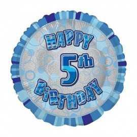 Ballon 5 ans Bleu Holographique - Cinquième anniversaire garçon