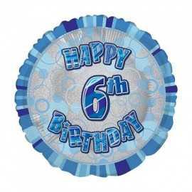 Ballon 6 ans Bleu Holographique - Sixième anniversaire garçon
