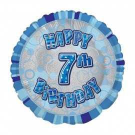 Ballon 7 ans Bleu Holographique - Septième anniversaire garçon