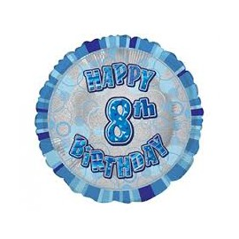 Ballon 8 ans Bleu Holographique - Huitième anniversaire garçon