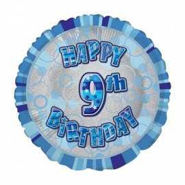 Ballon 9 ans Bleu Holographique - Neuvième anniversaire garçon