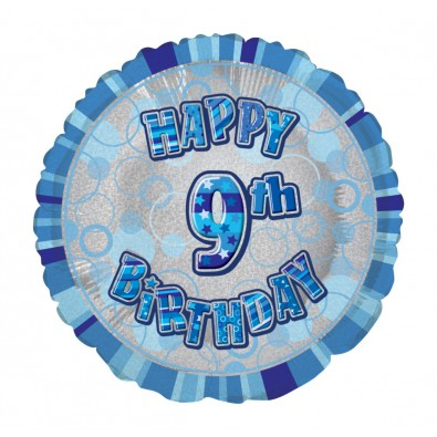 Ballon Chiffre 9 Neuf Decoration Bleu Gris Anniversaire Garcon