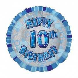 Ballon 10 ans Bleu Holographique - Dixième anniversaire garçon