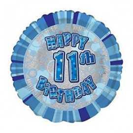 Ballon 11 ans Bleu Holographique - Onzième anniversaire garçon