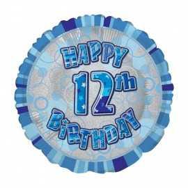 Ballon 12 ans Bleu Holographique - Douzième anniversaire garçon