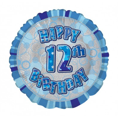 ballon chiffre 12 douze décoration bleu gris anniversaire garçon