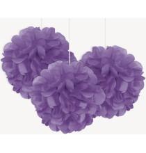 3 Petits Pompons Violet en Papier de Soie 23cm Décoration de Fête