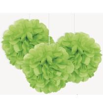 3 Petits Pompons Vert en Papier de Soie 23cm Décoration de Fête