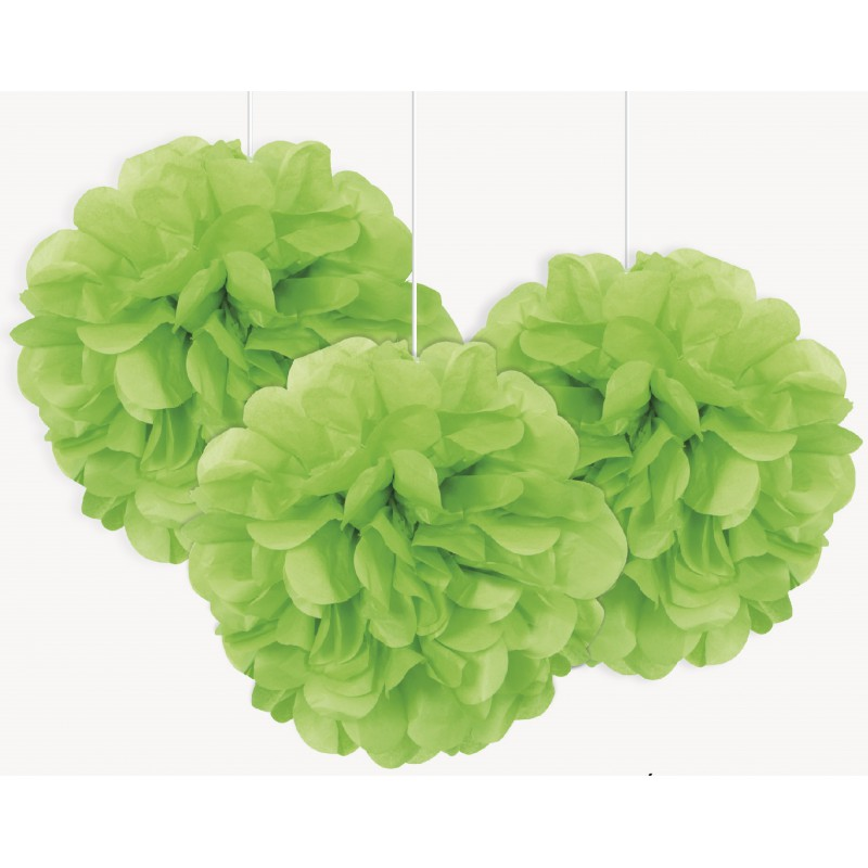 Pompons en papier de soie 25 cm vert d coration f te pas - Papier de soie pas cher ...