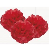 3 Petits Pompons Rouge en Papier de Soie 23cm Décoration de Fête