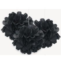 3 Petits Pompons Noir Papier de Soie 23 cm Décoration de Fête