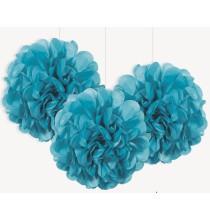 3 Petits Pompons Bleu Turquoise en Papier de Soie 23cm Décoration de Fête