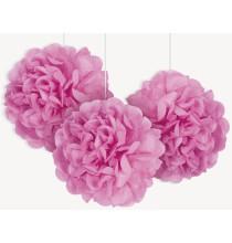3 Petits Pompons Papier de Soie 23cm Rose Fushia Décoration de Fête