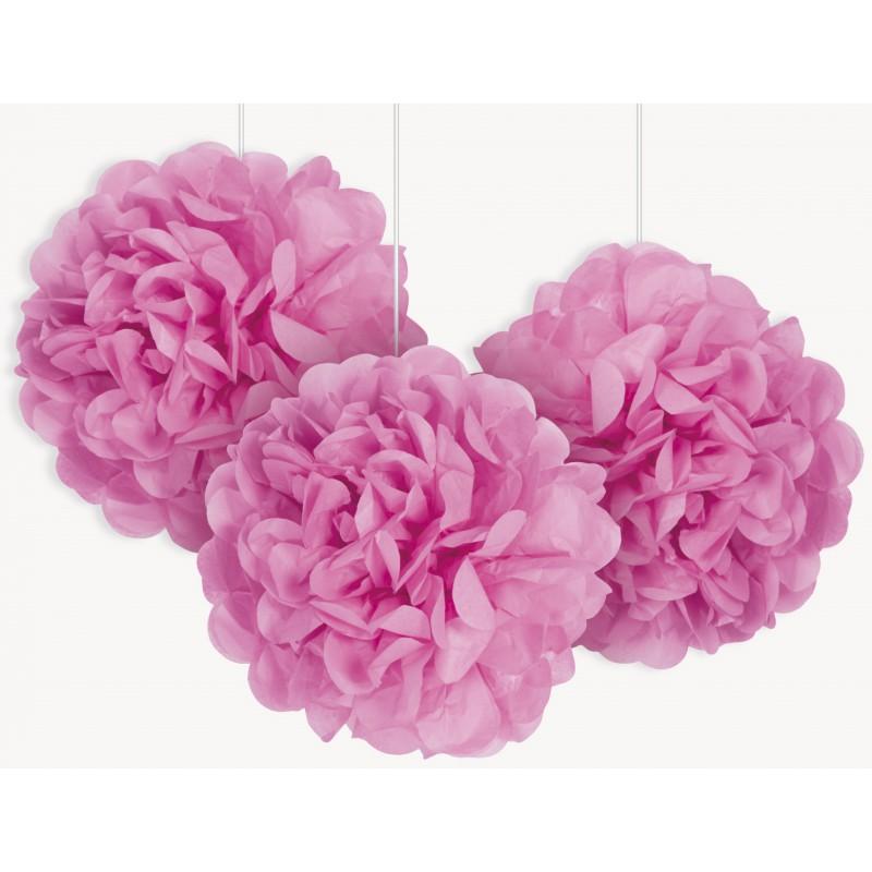 petits pompons de soie rose 23cm pour votre f te d coration diy. Black Bedroom Furniture Sets. Home Design Ideas