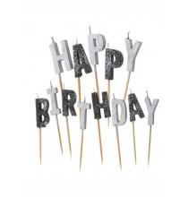 Bougies Happy Birthday Noir & Argent pailleté