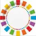 Grandes Assiettes Pois Arc-en-ciel Collection Rainbow Party