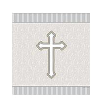 Nappe en plastique grise Baptême Communion Croix