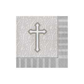 Grandes Serviettes Grises en Papier Croix Baptême et Communion
